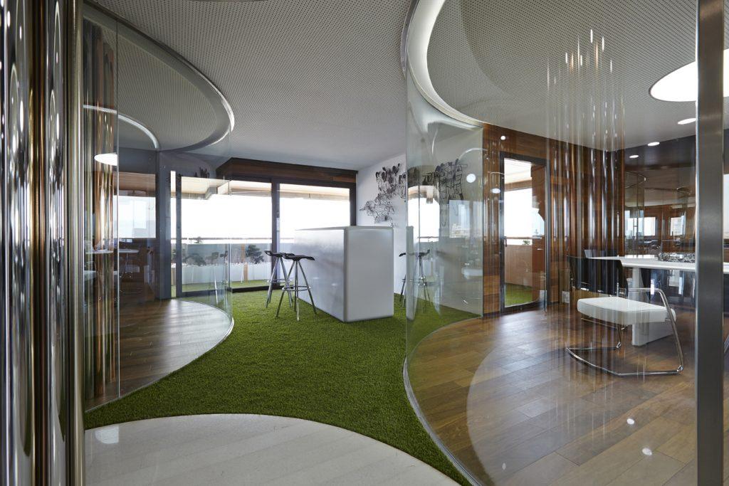 Mamparas de oficina curvas